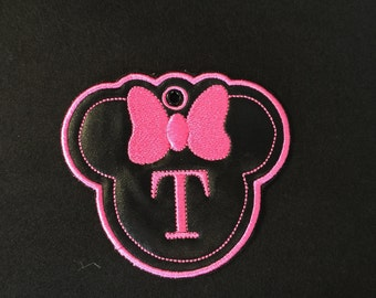 Machine Embroidery Design - Minnie Zipper Pull, bag tag
