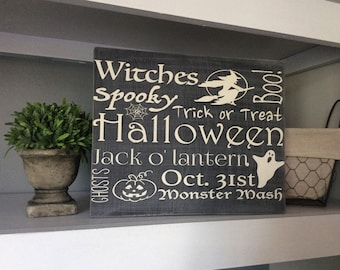 Halloween Sign, Halloween Decor, Black and White