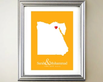 Egypt Custom Vertical Heart Map Art - Personalized names, wedding gift, engagement, anniversary date