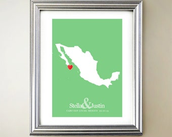 Mexico Custom Vertical Heart Map Art - Personalized names, wedding gift, engagement, anniversary date