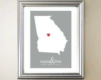 Georgia Custom Vertical Heart Map Art - Personalized names, wedding gift, engagement, anniversary date