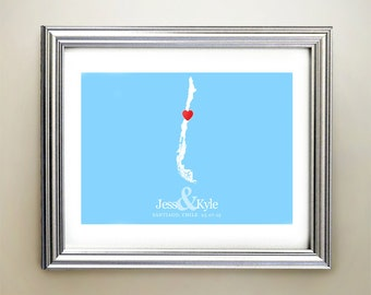 Chile Custom Horizontal Heart Map Art - Personalized names, wedding gift, engagement, anniversary date