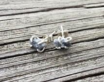 Raw Grey Diamond Stud Earrings in Argentium Silver; unique uncut diamond post back earrings' April birthstone gift