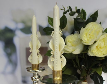 Gift for her - Carved candles - Tapper Candles - Candle Set