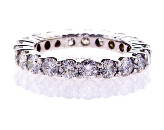 14k White Gold Natural Round Cut Diamond Ring Eternity Band 2.10 CTW F SI1