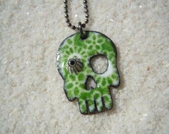 Green Sugar Skull with one eye