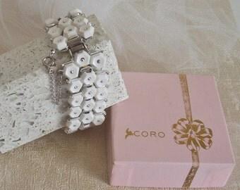 Vintage Coro Bracelet - Vintage White Coro Bracelet - Vintage Silver Bracelet - Vintage Coro Box - Collectible Coro - White Bracelet