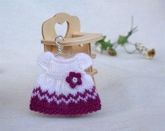 Miniature doll dress, 1:12 Heidi Ott toddler dollhouse doll clothes, Mini dolls clothing, Miniature knitting dress for small dolls