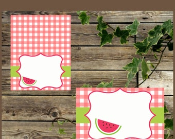 Watermelon Food Tents, Picnic Food Labels, Instant Download, Baby Shower Watermelon Blank Foldable Place Cards, Printable Buffet Labels