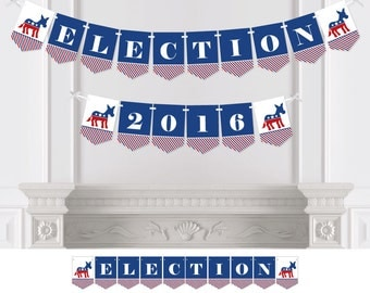 Election - Political Party  (D) - Bunting Banner - Personalized Election Party Decorations