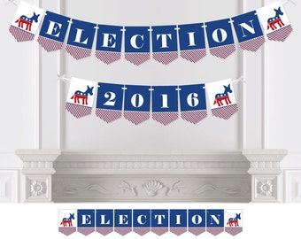 Election - Political Party  (D) - Bunting Banner - Personalized Election Party Bunting Banner & Decorations - Hanging Custom Party Décor