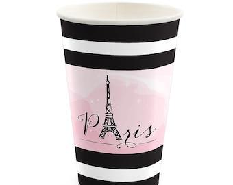 8 Count - Paris, Ooh La La - Hot/Cold Cups - Baby Shower or Birthday Party Supplies