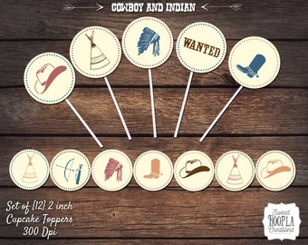 COWBOY and INDIAN Cupcake Toppers! Instant Digital Download