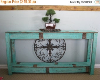 SALE Rustic Sofa Table in Farmhouse Aqua