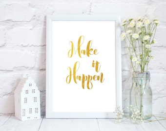 You got this, Gold print, Gold home decor, Metallic art, Positive prints, motivational quotes, inspirational quote print, Inspirational art
