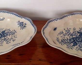 Booths Silicon China Oval Dishes. Peony Pattern. 1900+