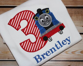 Train Birthday shirt Personalized Blue Train
