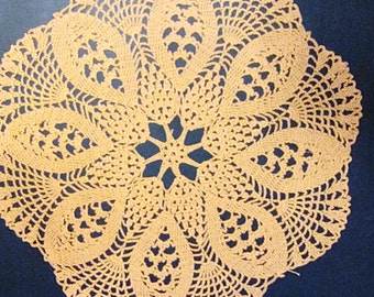 Beautiful and Unique Hand-Crocheted Delicate Doily 16.5 inches