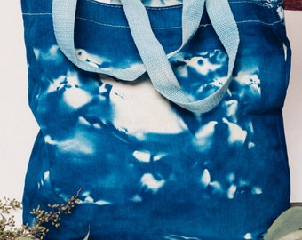 Original Cyanotype Printed Small Shoulder Tote Bag with Abstract Rock Photography