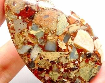 Aqua Terra Jasper Focal Bead, Light Blue and Light Brown Jasper Pendant, Impression Jasper, Sea Sediment Jasper, Baby Blue Gemstone Pendant