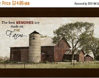 """Sale The Best Memories Are Made On The Farm Barn Western Gift Decor Framed Art Picture 10x16"""""""