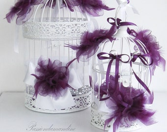 Cage door-alliances and URN of marriage with deep purple flowers pearls and ribbons