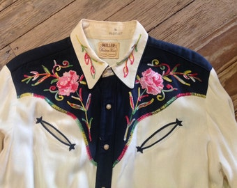 1950s Miller Rose Embroidered Western Shirt sz. 44 in VG + Cond.