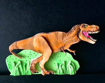 Edible fondant 2D TRex Dinosaur Jurassic World Birthday Cake topper