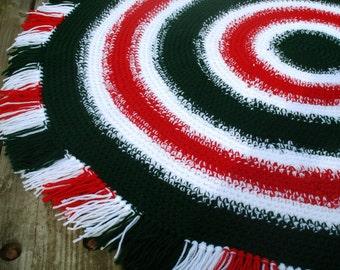 Christmas hand crocheted Area Rug Crochet Floor rug crochet Round Rug Crochet Round Area Rug  crochet floor rug crochet area rug crochet