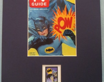 DC Comic Book Heroes Batman and Robin as portrayed on TV by Adam West and Burt Ward and the Batman stamp