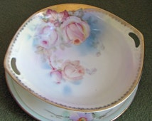 Prussian Sauce Bowl and Underplate Small Handled Bowl Royal Rudolstadt Gold Trimmed Pink Roses 1910