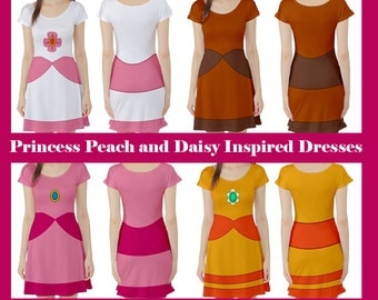Princess Peach and Daisy Inspired Dresses