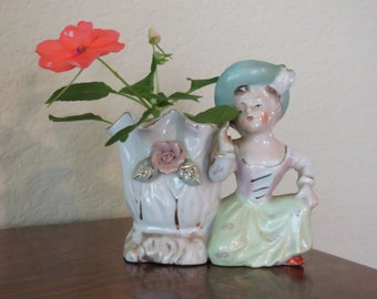 Vintage vase with lady and rose-free shipping USA
