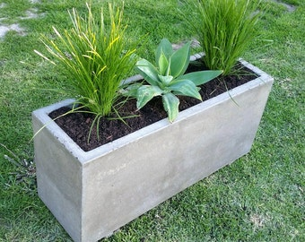 Polished concrete planter; large rectangular garden, patio or outdoor planter box