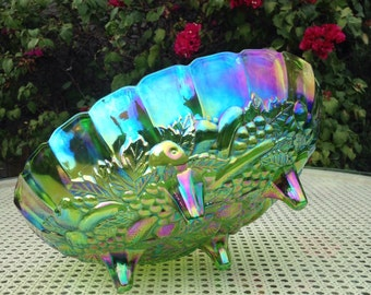 Green Carnival Glass Fruit Bowl