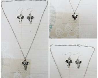 Silver Elephant Head Charm Necklace and Earring Set - Ready to Ship