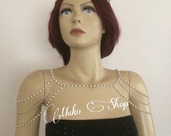 Silver Shoulder chain,Pearls Shoulder Straps Jewelry, Pearl Wedding Chain Shoulder Jewelry,  Wedding Shoulder Jewelry
