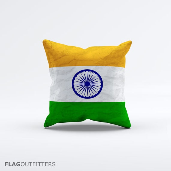 15 Inch Throw Pillow Covers : Flag of India Throw Pillow Cover 15 x 15 inch Decorative