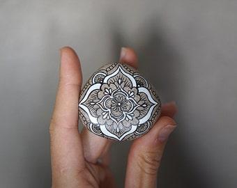 Black & White Painted Mandala Stone