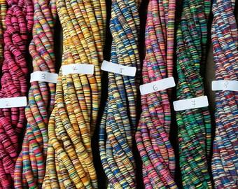 "8 mm. African vulcanite vinyl disc beads, strand 16"", 12 mix of colors, Fair Trade"