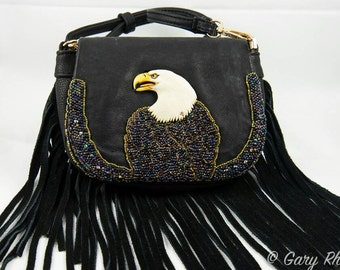 Eagle in profile Native American inspired beaded leather bag by Beadworkdreamsraven