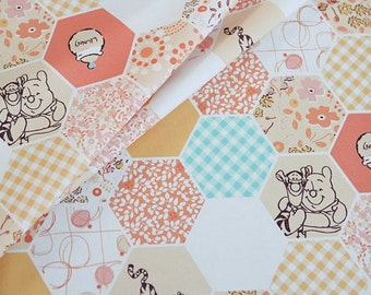Hexagon Winnie The Pooh Pattern Cotton Fabric by Yard - Orange Color