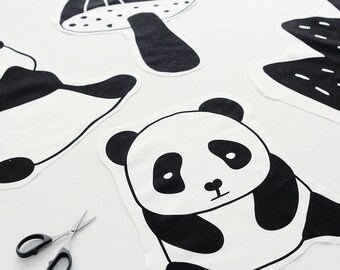 Panda Pattern Cotton Panel Fabric by Yard- 4 Designs Package