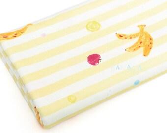 Banana and Stripe 40s Cotton Interlock Knit Fabric by Yard (Yellow)