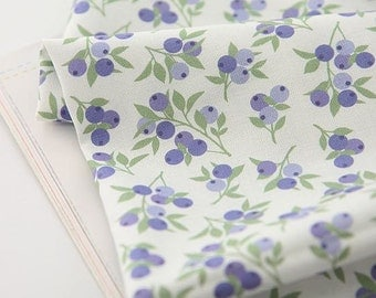 Blueberries Pattern Digital Printing Cotton Fabric by Yard