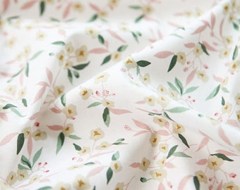 Lovely Flower Pattern White Cotton Fabric by Yard