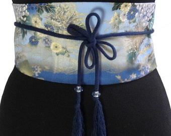 Obi belt in printed japanese cotton and cordon with pompons