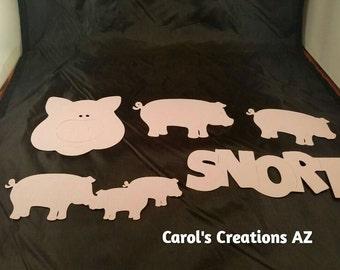 10 Pig Die Cuts / Pig Die Cuts / Pig Face Die Cut / Pig Saying Die Cut / Snort Die Cut / Mix and Match Pig Die Cuts Set#1