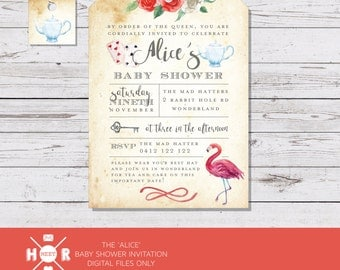 Printable - The 'Alice' in Wonderland Baby Shower Invitation | Watercolour | Tea themed Invite