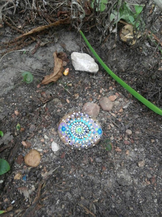 Decorative garden mandala rocks painted acrylic outdoor decor for Decorative boulders for yard